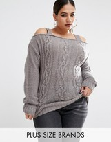 Boohoo Plus Cold Shoulder Knitted Sweater