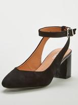 Wallis Ankle Strap Slingback Low Block Court Shoes - Black