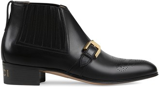 Gucci Women's leather ankle boot with G brogue