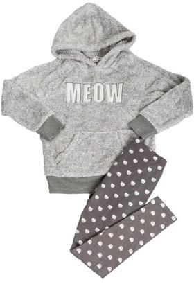 PJ Salvage Kids Pajama Set Playful PLUSH MEOW Grey Small Size 4
