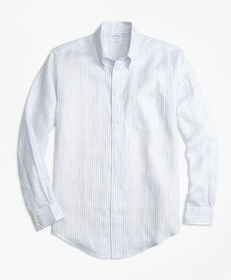 Brooks Brothers Regent Fit Stripe Irish Linen Sport Shirt