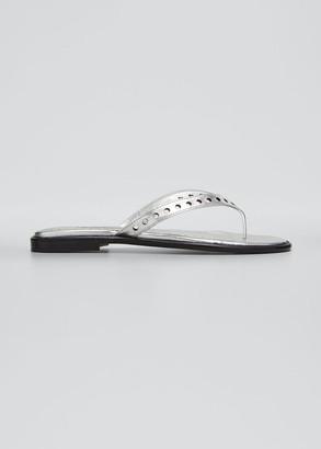 Manolo Blahnik Rena Perforated Metallic Thong Sandals
