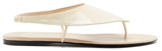 The Row Ravello Leather Flat Sandals - Womens - Ivory