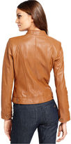 Kenneth Cole Reaction Jacket, Band-Collar Leather Motorcycle
