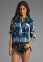Rails Kendra Tencel Button Down in Navy/Green/White