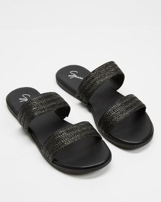 Spurr Women's Black Flat Sandals - Eimear Wide Fit Comfort Slides - Size 7 at The Iconic
