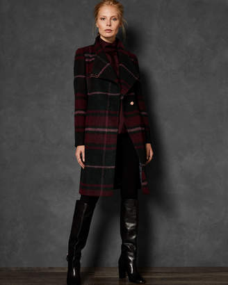 Ted Baker SKAALET Check midi wrap coat