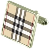 Select Gifts Tartan Burberry Check Cufflinks in Engraved Personalised Case