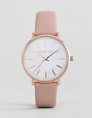 Michael Kors MK2741 Pyper Leather Watch In Pink 38mm