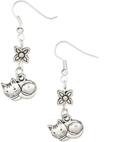 Silvertone Cat Drop Earrings