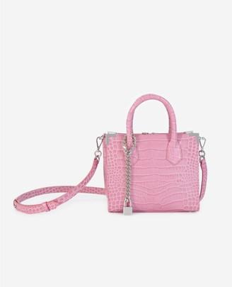 The Kooples Ming medium pink croc-print bag in leather