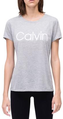 Calvin Klein Calvin Logo Short Sleeve Tee With Inset Shoulder Seams