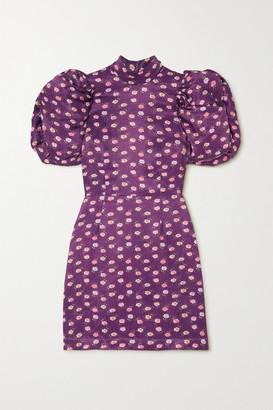 Rotate by Birger Christensen Dusk Open-back Floral-print Satin Mini Dress