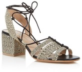 Pour La Victoire Amada Raffia Lace Up Block Heel Sandals