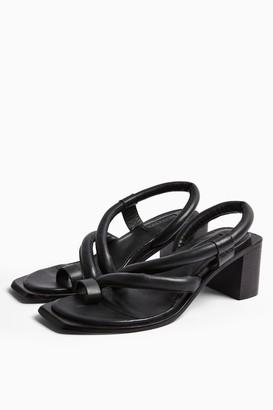 Topshop VIDAL Black Leather Padded Sandals
