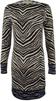 MICHAEL Michael Kors Womens Animal Print Long Sleeves Wear to Work Dress B/W S