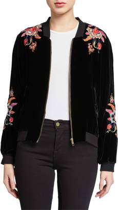 Johnny Was Ioana Velvet Bomber Jacket with Embroidery
