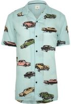 River Island Mens Green car print revere short sleeve shirt