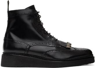 Toga Virilis Black Hard Leather Brogue Boots