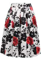 ACEVOG Women's Vintage Print Floral Pleated Midi Skater Party Skirt