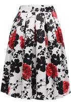 ACEVOG Women's Vintage Print Floral Pleated Midi Skater Party Skirt