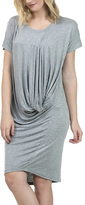 Gray Mélange Ruched-Drape Dolman Dress