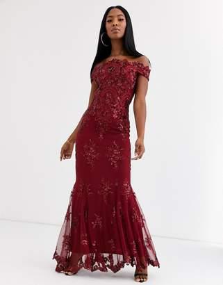 Goddiva bardot maxi dress with baroque embellishment in wine red