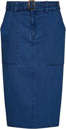 Yumi Longer Line Denim Skirt With Belt Detail