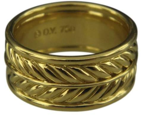 David Yurman 18K Yellow Gold Chevron Band Ring Size 9.75