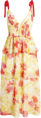4SI3NNA the Label Tiered Floral Midi Sundress