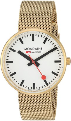 Mondaine SBB Elegant Wrist Watch (Model: A763.30362.21SBM) Gold-Plated-Stainless-Steel Strap Railway Designed Face