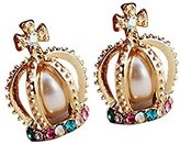 DaySeventh 1 Pair Crown Pearl Rhinestone Cross Lovely Retro Stud Earrings