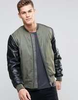 Asos Bomber Jacket With Faux Leather Sleeves In Khaki