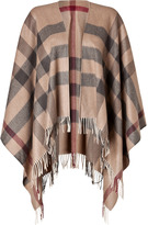 Burberry Wool-Cashmere Collette Cape in Smoked Trench Check