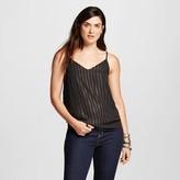 Women's V-Neck Cami Black with Gold Shine Stripes - Mossimo