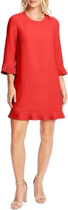 CeCe Pleat Detail Moss Crepe Shift Dress