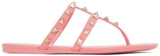 Valentino Pink Garavani Rubber Rockstud Flat Sandals