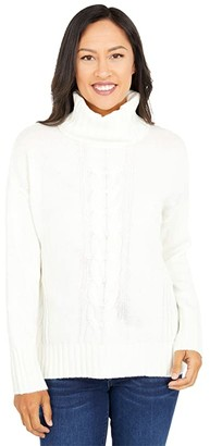 Splendid Cashblend Cable Sweater (Cloud) Women's Clothing