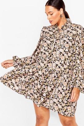 Nasty Gal Womens Smock 'Em All Plus Floral Dress - Black - 16, Black