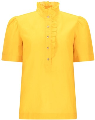 Asneh Yellow Daisy Frill Front Cotton Blouse