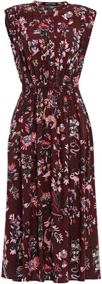 Markus Lupfer Isla Gathered Printed Woven Midi Dress