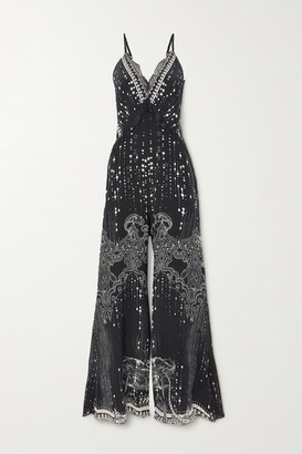 Camilla Lace-trimmed Crystal-embellished Printed Silk Crepe De Chine Jumpsuit - Midnight blue