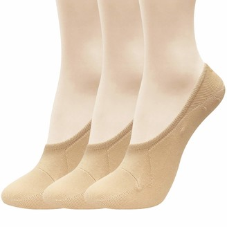 CUTIE MANGO Women's Casual Basic Non Slip Low Cut No Show Liners Socks 4 Colors 2 Sizes / 4 to 12 Pairs (3 Pairs_nude L SIZE 8-10.5(US) 5.5-8(UK) 38-40.5(EU))