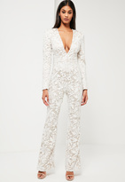 Missguided White Lace Plunge Romper