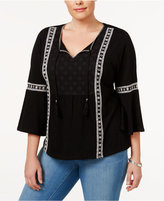 Style&Co. Style & Co Plus Size Lace-Trim Peasant Top, Only at Macy's