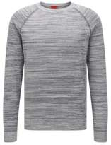 HUGO BOSS Srolon Slim fit, Melange Stripe Cotton Sweater M Grey
