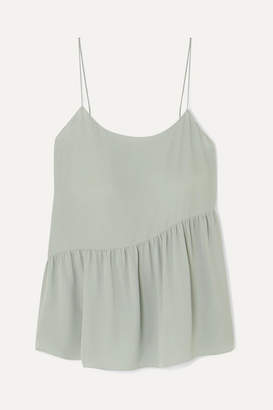 Theory Pleated Silk-crepe Camisole - Green