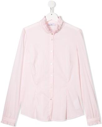 MonnaLisa TEEN studded logo ruffled shirt