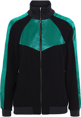 Maje Satin-paneled Crepe Jacket