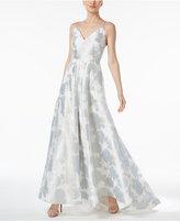 Calvin Klein Floral-Print A-Line Gown